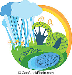 vector summer landscape with rainbow