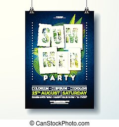 Vector Summer Party Flyer Design with tropical leaves and flower on blue background. Summer nature floral elements. Design template for banner, invitation, event poster.
