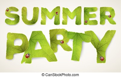 Vector Summer Party words, made from green leaves