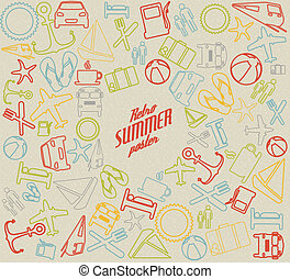 Vector summer pattern / background with the sun and summer...