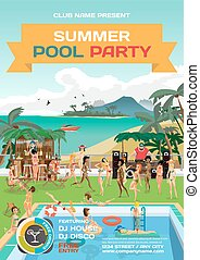Vector summer pool party invitation beach style. Day beach, swimming pool, bar, dj with sound system, crowd women in bikinis. Poster, invitation or flyer. Vector template beach summer party poster.