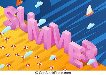 Vector summer poster with 3d paper letters on sand