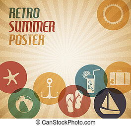 Vector summer poster with the sun and summer icons