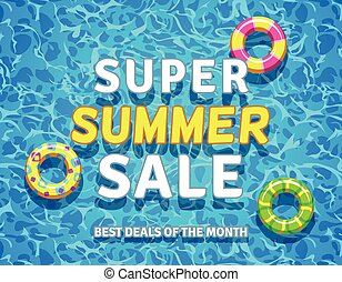 Vector summer sale background with swimming pool rings