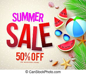 Vector summer sale banner design with red sale text