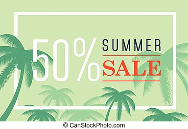 vector summer sale banner. Palm silhouette and text on blue...