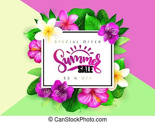Vector summer sale banner with hand lettering and tropical...
