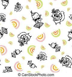 Vector summer sexy beach cat seamless pattern