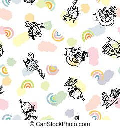 Vector summer sexy funny beach cat seamless pattern