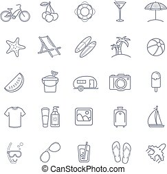 Vector summer thin line icons set