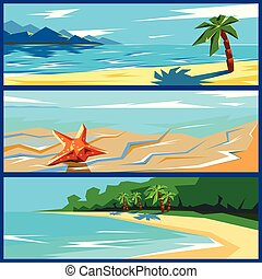 Vector summer travel banners set. Geometric flat ocean coast landscape with sand, palm trees and starfish backgrounds.
