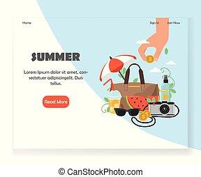 Vector summer website landing page design template