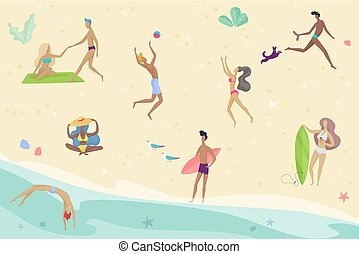 Vector summertime cartoon illustration. People activities on the beach. Friends enjoing time summer vacation.