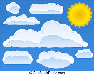 Vector sun and clouds