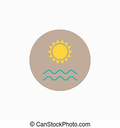 Vector sun and sea icon