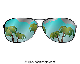 Vector sun glasses with tropical palms reflection