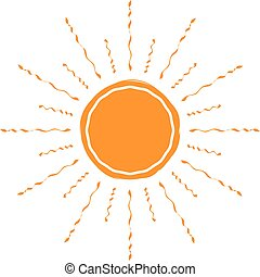Vector sun icon. Isolated on white.
