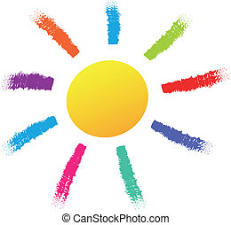 Vector sun illustration - Vector illustration of colorful...
