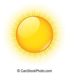 Vector Sun - Vector icon of yellow sun on white