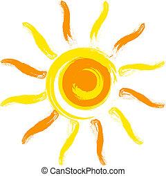 Vector sun - Vector yellow sun.