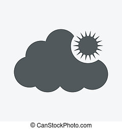 Vector sun with clouds