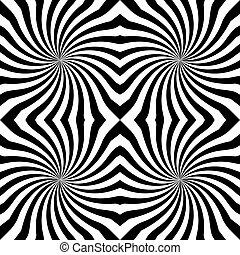 Vector sunburst seamless pattern with swirl and geometric wave. Abstract black seamless pattern on white background