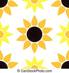 vector sunflower seamless pattern