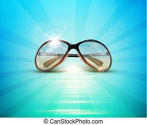 Vector sunglasses in the sun, lying against the blue sea, ocean.