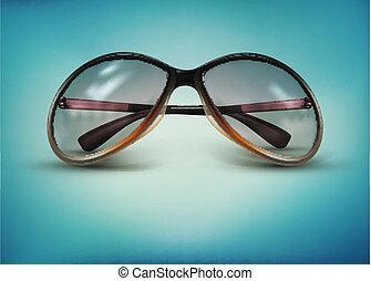 Vector sunglasses isolated on a blue background