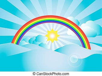 Vector sunlight and  rainbow with cloud on blue sky