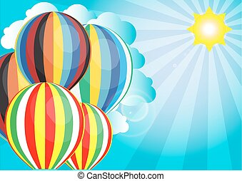 vector sunlight with hot air balloon in the sky