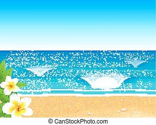 Vector sunny beach with waves and frangipani flower