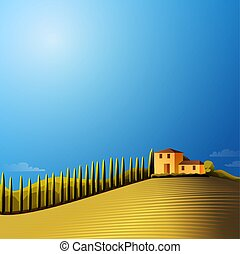 Vector sunny  landscape with farmhouse ,hills and meadow