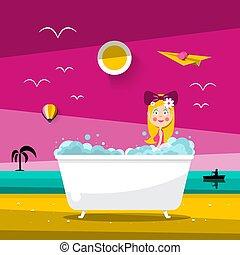 Vector Sunset Landscape with Beautiful Woman in Bathtub on Ocean Beach