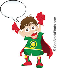 Super hero Boy with Speech Bubble - Vector - Super hero Boy...