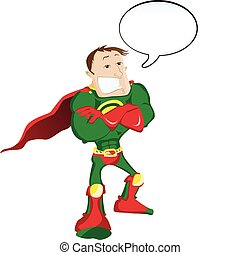 Super hero Man with Speech Bubble