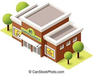 Vector supermarket - Vector isometric supermarket building ...