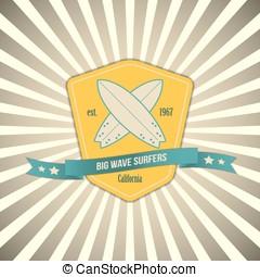 Vector surf badge on outburst background. T-shirt surfboard vintage graphic design. Inspirational sports poster