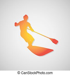 vector, surfer, peddel, pictogram, orange., schaduw, illustratie