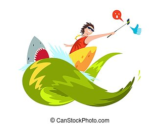 Vector surfer surfing on the waves makes a sephi, takes video. Shark with big teeth. Character in wetsuit with surfboard standing and riding on ocean wave.