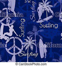 Vector Surfing California Blue Seamless Pattern Surface Design With Surfing Women, Palm Trees, Peace Signs, Surf Boards.