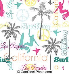 Vector Surfing California Colorful Seamless Pattern Surface Design With Women, Palm Trees, Peace Signs, Surf Boards.