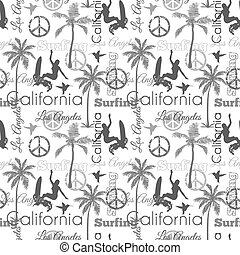 Vector Surfing California Gray Seamless Pattern Surface Design With Surfing Women, Palm Trees, Peace Signs, Surf Boards.