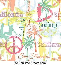 Vector Surfing California San Francisco Colorful Seamless Pattern Surface Design With Active Women, Palm Trees, Peace Signs, Surf Boards.