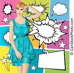 Vector Surprised Blonde in Blue Dress With Set Of Speech Bubble