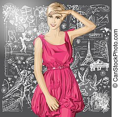 Vector Surprised Blonde in Pink Dress Against Love...
