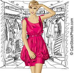 Vector Surprised Blonde in Pink Dress