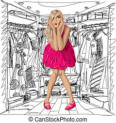 Vector Surprised Blonde in Pink Dress - Fashion concept. ...