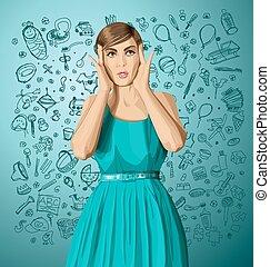 Vector Surprised Girl in Dress