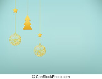 Vector surrealism illustration. New Year card with hanging balls and a tree. EPS 10